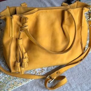 Tassled Mustard Anthro Miss Albright leather bag
